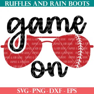 baseball svg game on with sunglasses in ruffles and rain boots shop