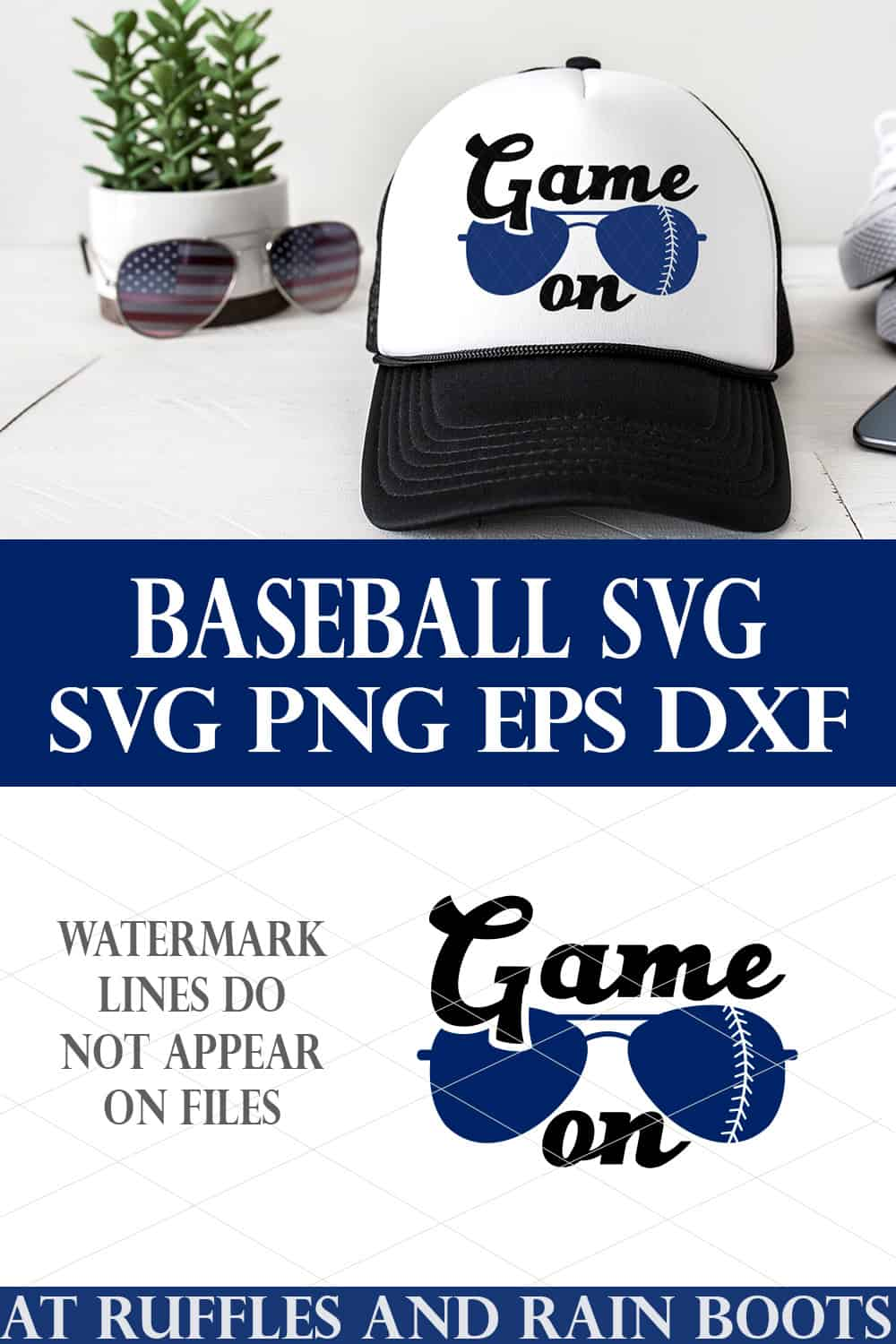 vertical collage of white trucker hat with black rim on white background and blue game on baseball svg