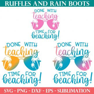 two sublimation prints for teaching summer design with SVG for ruffles and rain boots shop