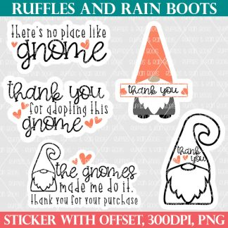 gnome business sticker bundle for ruffles and rain boots shop