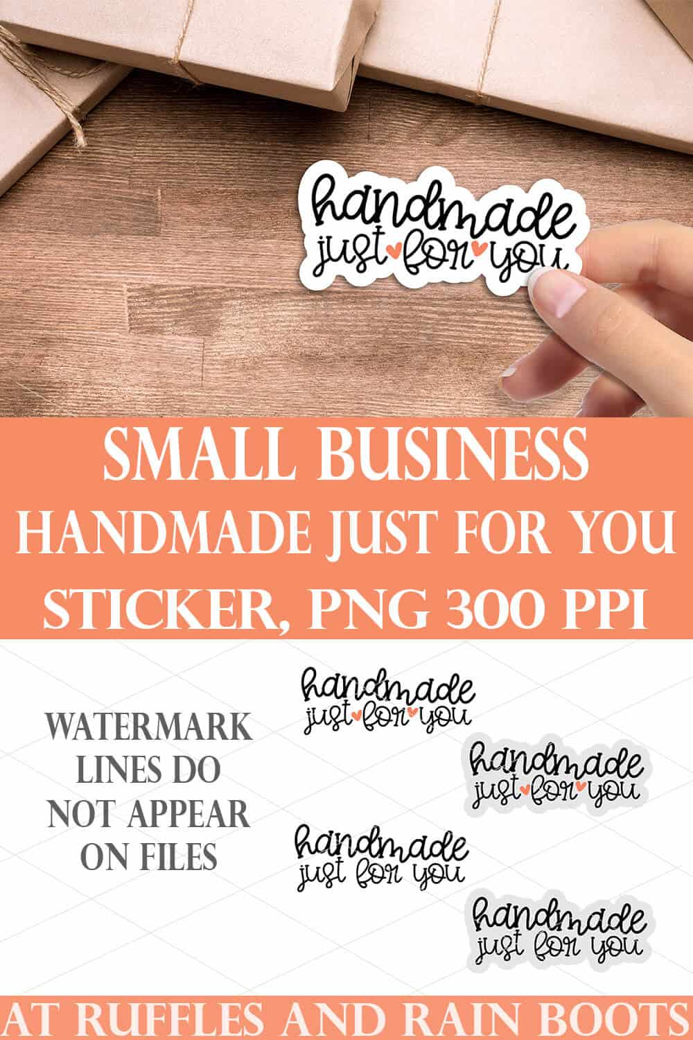 collage of handmade just for you sticker on wood background with small business SVG