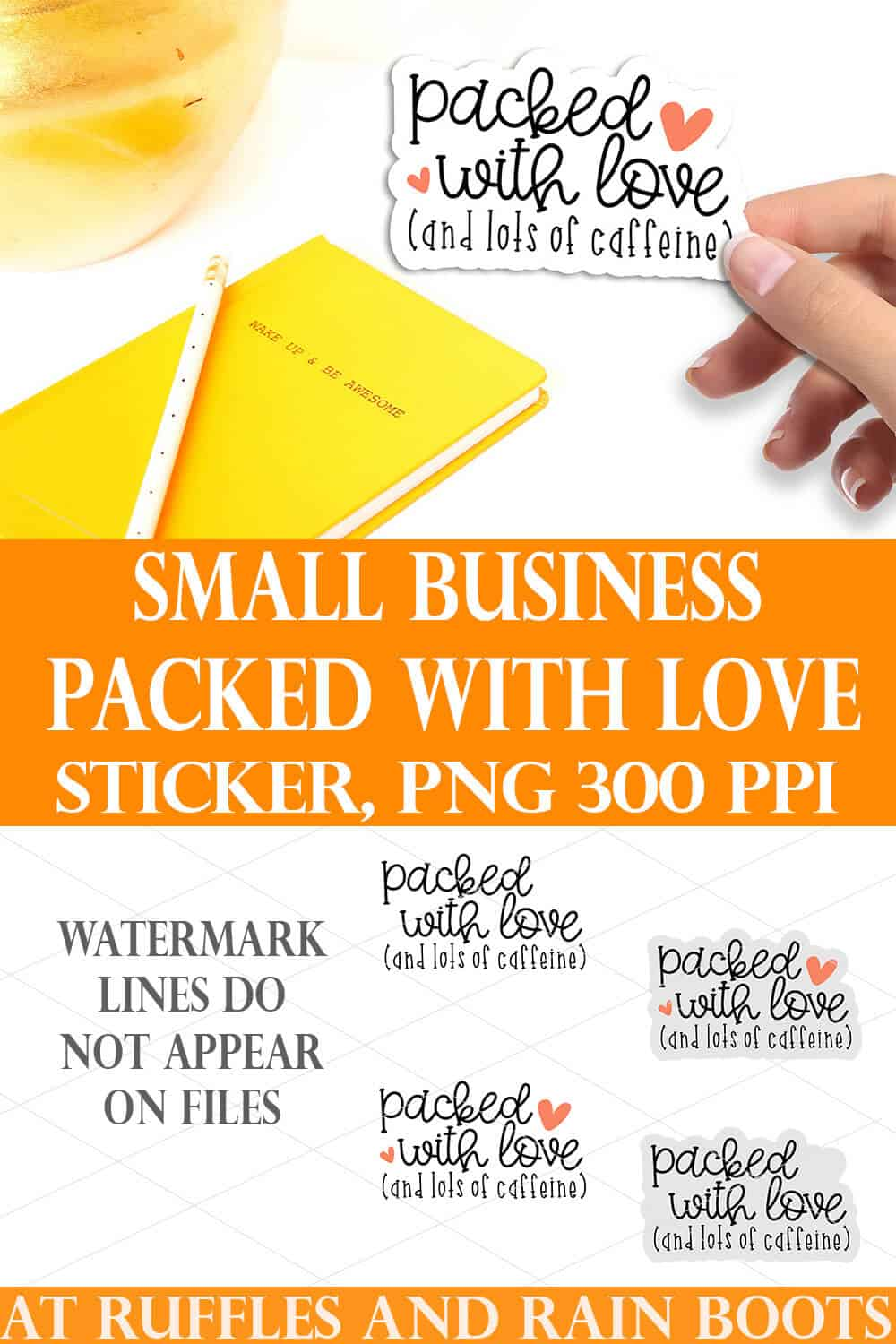 collage of four small business stickers with packed with love design