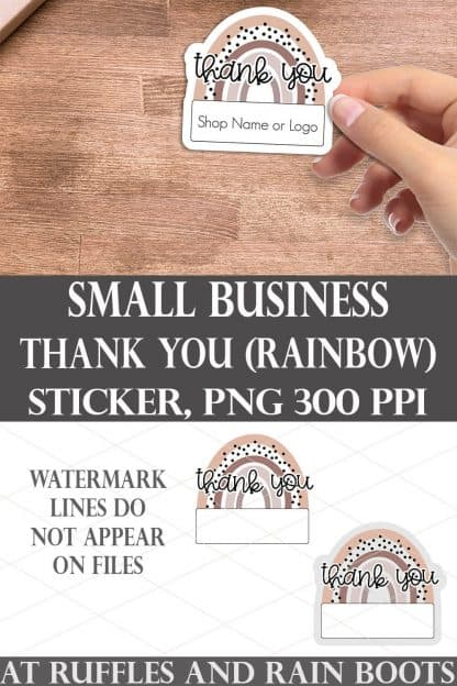 collage of small business owner thank you sticker set in a boho rainbow style