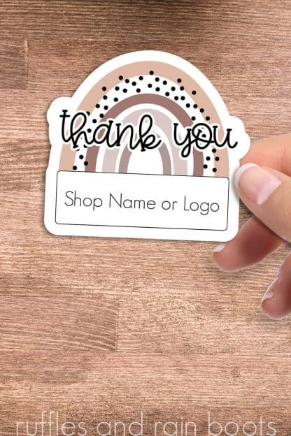 close up of woman holding rainbow thank you sticker printable with area for shop name or logo of small business