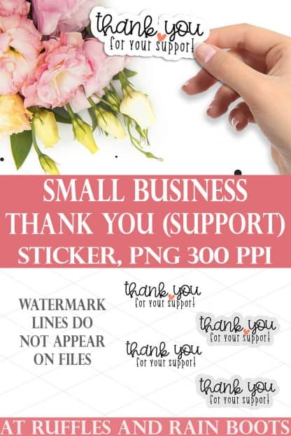 collage of thank you for your support sticker held in hand over pink flower bouquet on white table