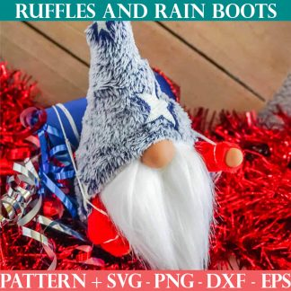 icelandic lovey gnome pattern ruffles and rain boots svg