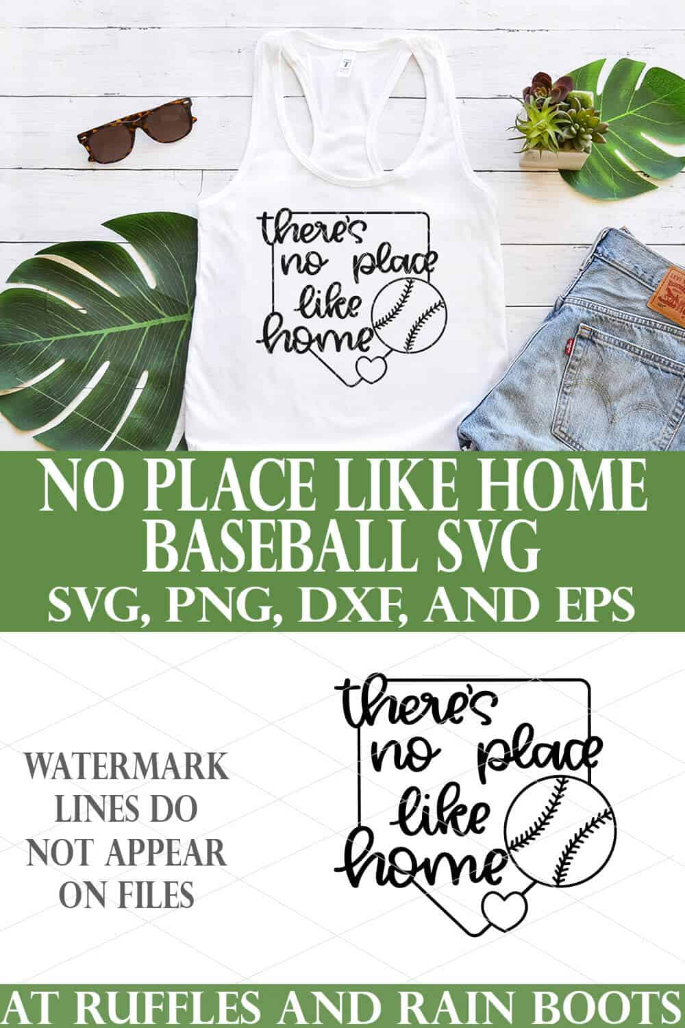 collage of white tank top with black theres no place like home baseball svg on white wood tropical background