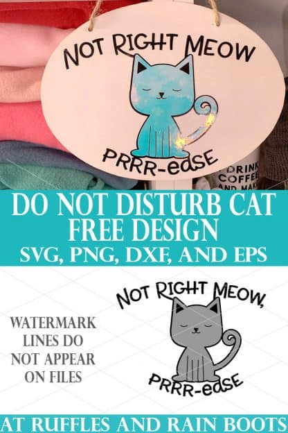 vertical image collage of cat svg on white dollar tree sign which says not right meow purrrease