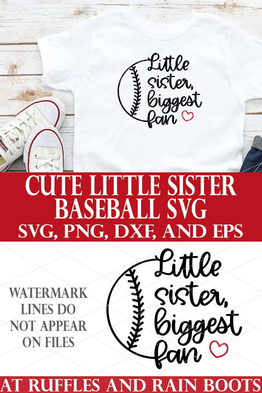 little sister baseball svg in black with red heart on white t shirt on white wood background