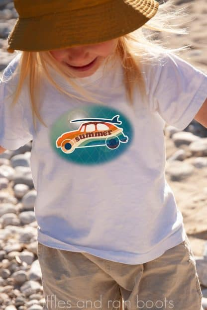 blue sublimation summer surf vw bug on a kids shirt