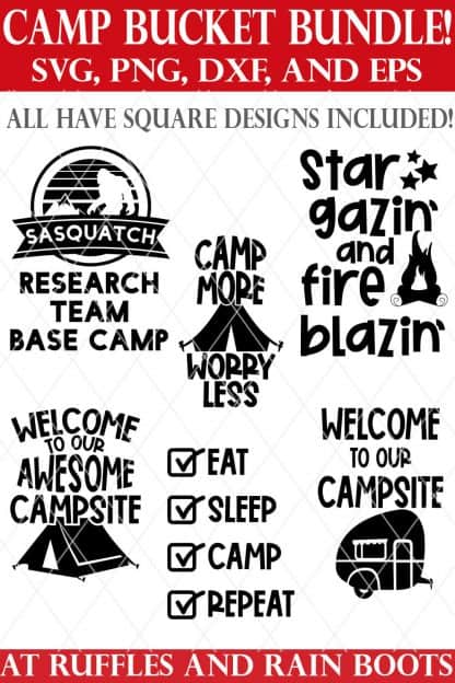 camp bucket svg bundle from ruffles and rain boots