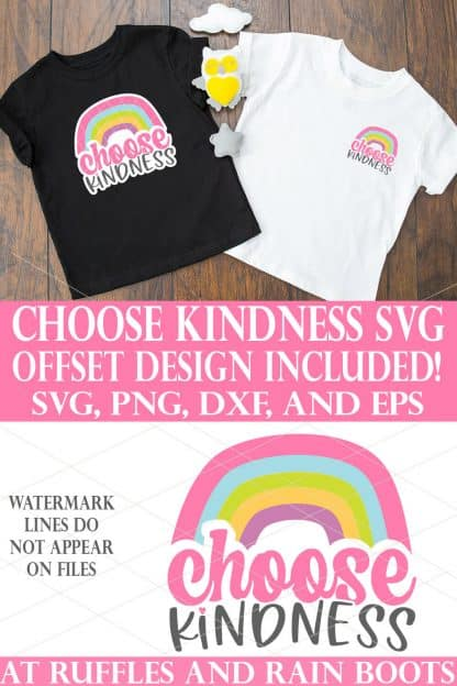 black and white t shirts on wood background with choose kindness svg rainbow with white offset