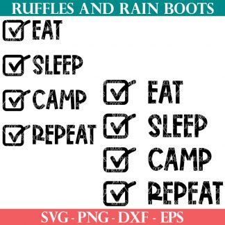camping bucket svg from ruffles and rain boots of eat sleep camp repeat