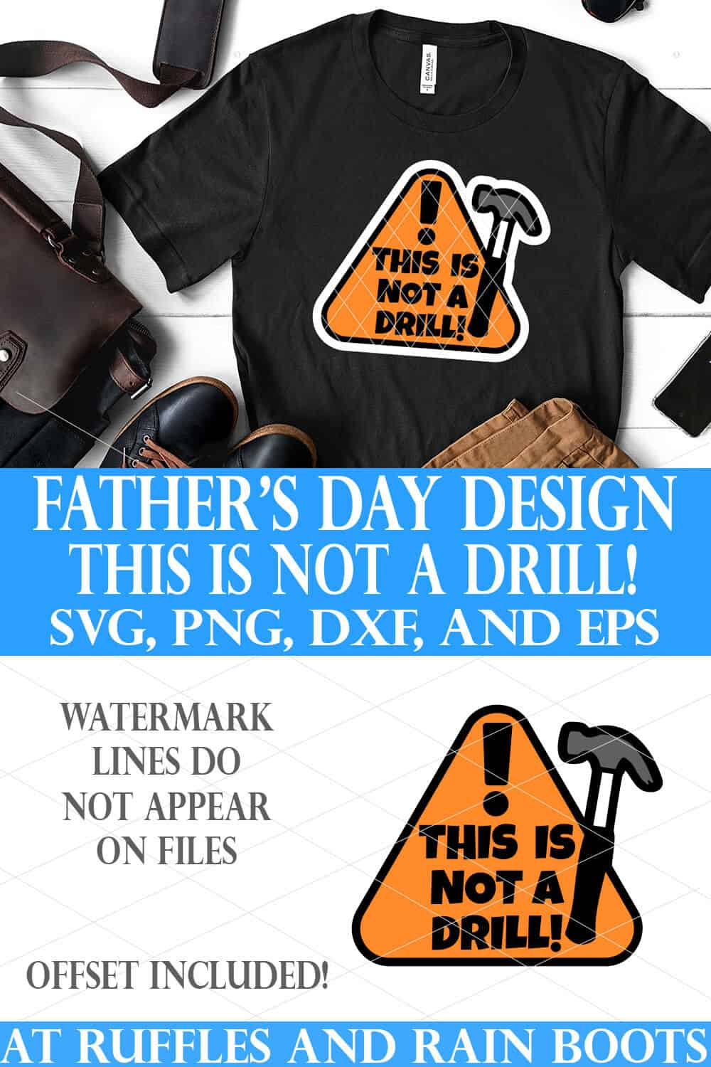 stacked image featuring this is not a drill svg on black t shirt on white wood background with text which reads father's day design