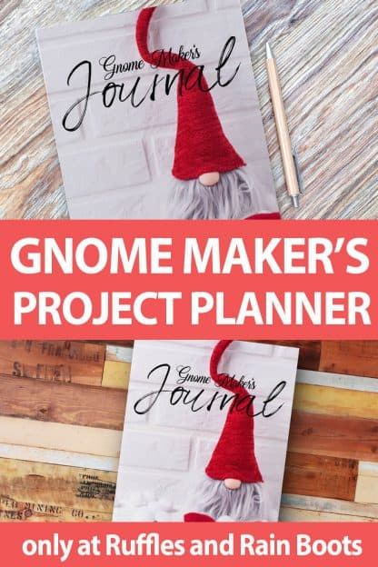 photo collage of gnome crafting journal with text which reads gnome maker's project planner