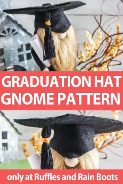 photo collage of gnome graduation hat pattern gnome pattern accessory with text which reads graduation hat gnome pattern