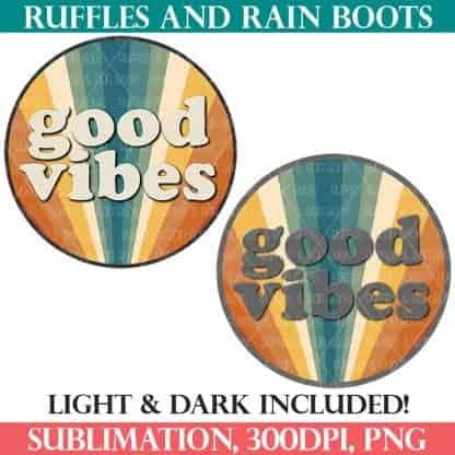 good vibes sublimation retro Ruffles