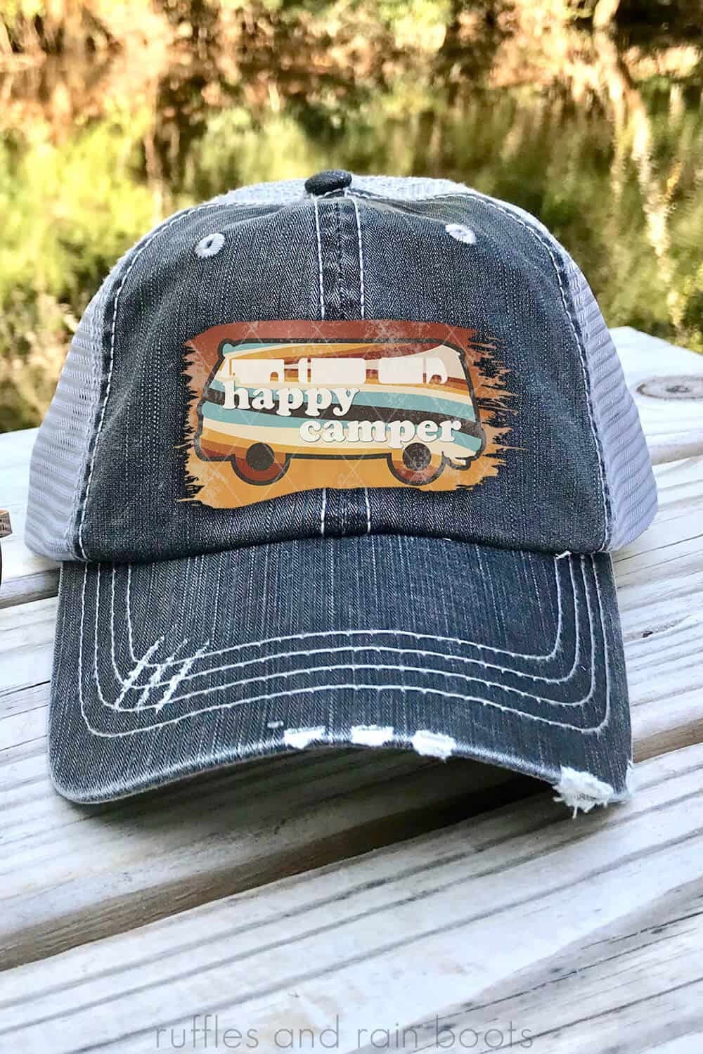 happy camper sublimation retro bus on a hat