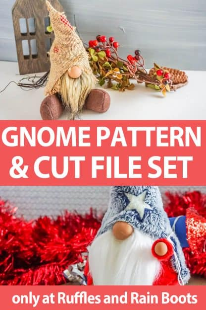 photo collage of icelandic lovey gnome pattern with cricut files with text which reads gnome pattern and cut file set