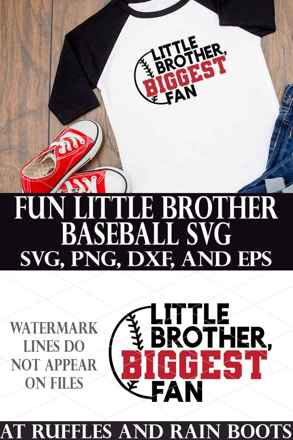 collage of white and black raglan t shirt with black and red little brother biggest fan baseball svg