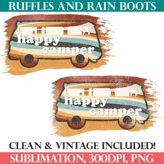 orange happy camper sublimation retro vintage