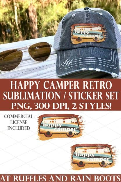 photo collage of retro bus happy camper sublimation volkswagen van with text which reads happy camper retro sublimation sticker set png 300 dpi 2 styles