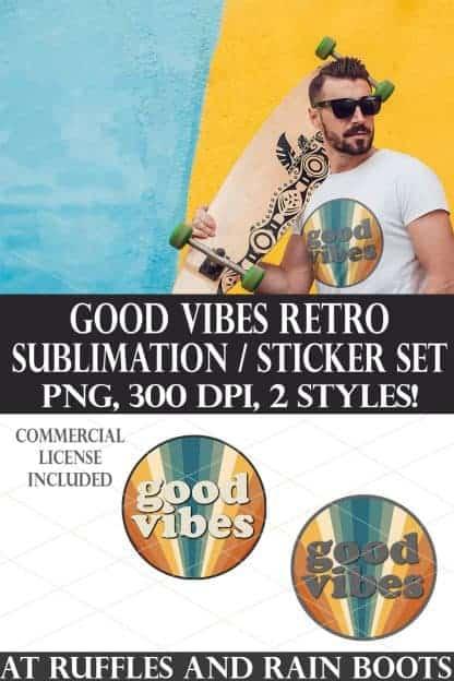 photo collage of retro good vibes sublimation print cut sticker vintage