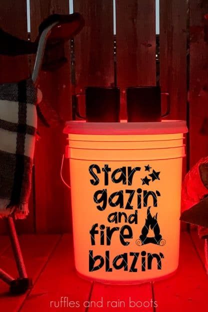 orange camp bucket with star gazin and fire blazin svg in black vinyl