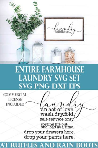 farmhouse laundry svg an act of love on white sign on white wood background from ruffles and rain boots