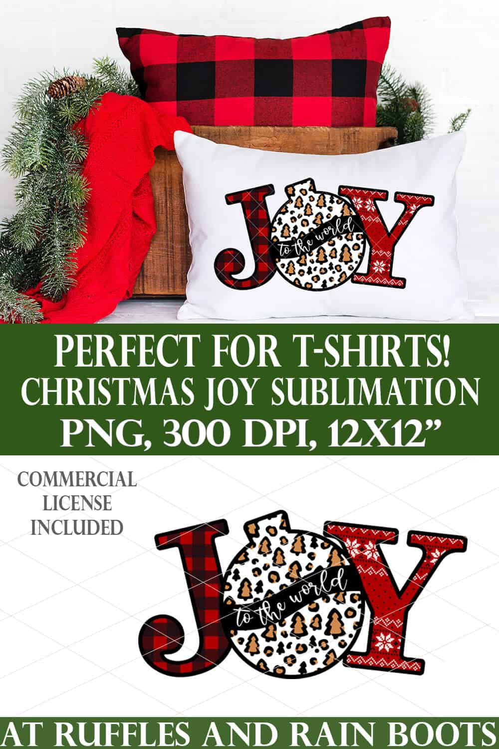 Christmas JOY sublimation print with leopard print ornament on white pillow and holiday background