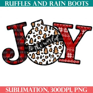 JOY sublimation with leopard print ornament for Christmas sign and sublimation t shirt for the holidays from ruffles and rain boots