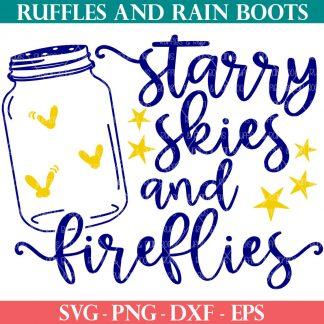 Summer SVG starry skies fireflies mason jar