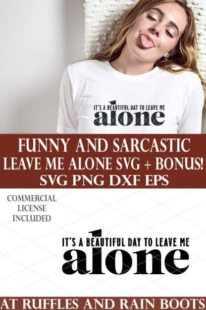 vertical image collage of leave me alone svg with cutout and bonus sticker
