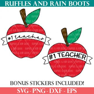 number 1 teacher svg in apple with banner from ruffles and rain boots shop