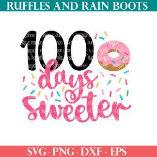 100 days sweeter donut cut file set