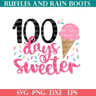 100 days sweeter ice cream cut file set