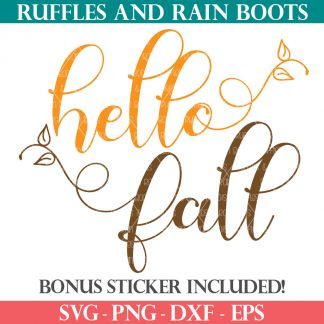 hello fall svg with vines from ruffles and rain boots for cricut silhouette brother
