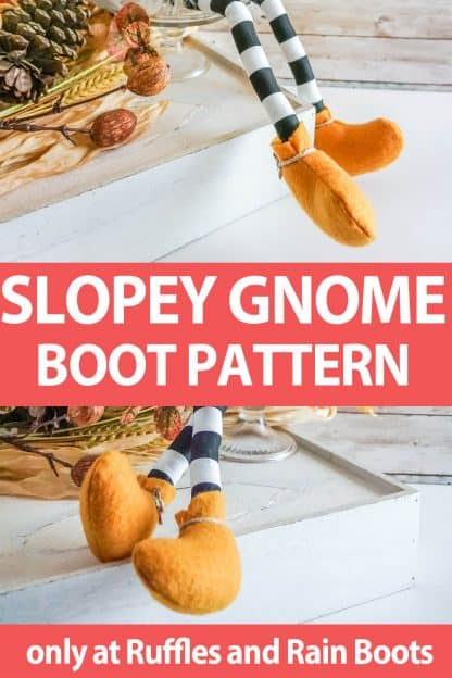 photo collage of gnome shoe pattern for shelf sitter gnomes