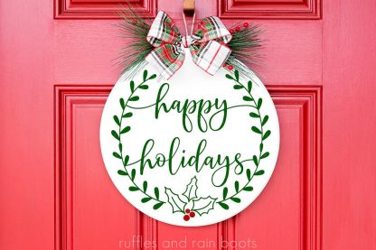 Christmas Sign SVG Wreath Happy Holidays svg for cricut or silhouette