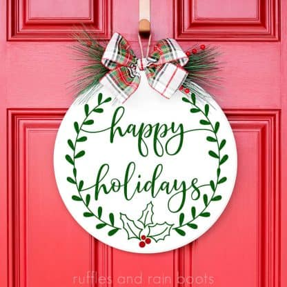 laurel and holly Christmas Sign SVG Wreath Happy Holidays SVG