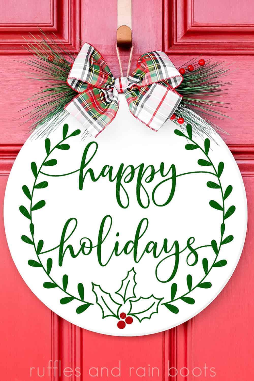 Christmas Sign SVG Wreath Happy Holidays SVG