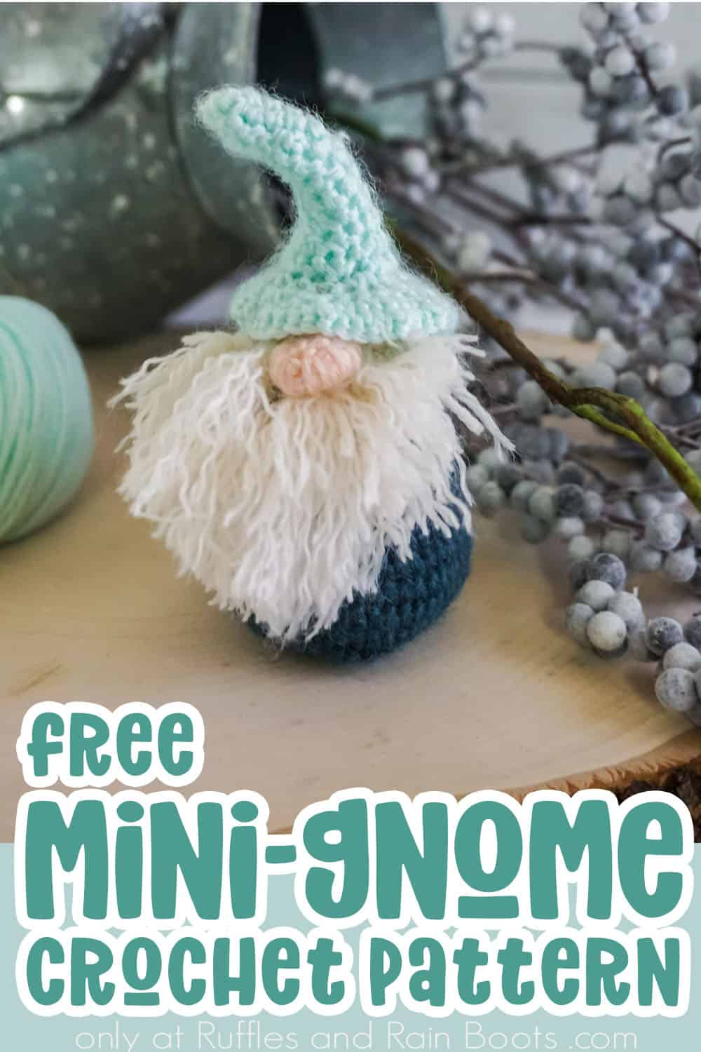 vertical image of an adorable gnome with text which reads free mini gnome crochet pattern from ruffles and rain boots