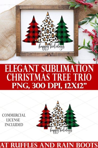 collage showing Christmas tree sublimation in Buffalo check and leopard print on white frame on holiday background in red green and white