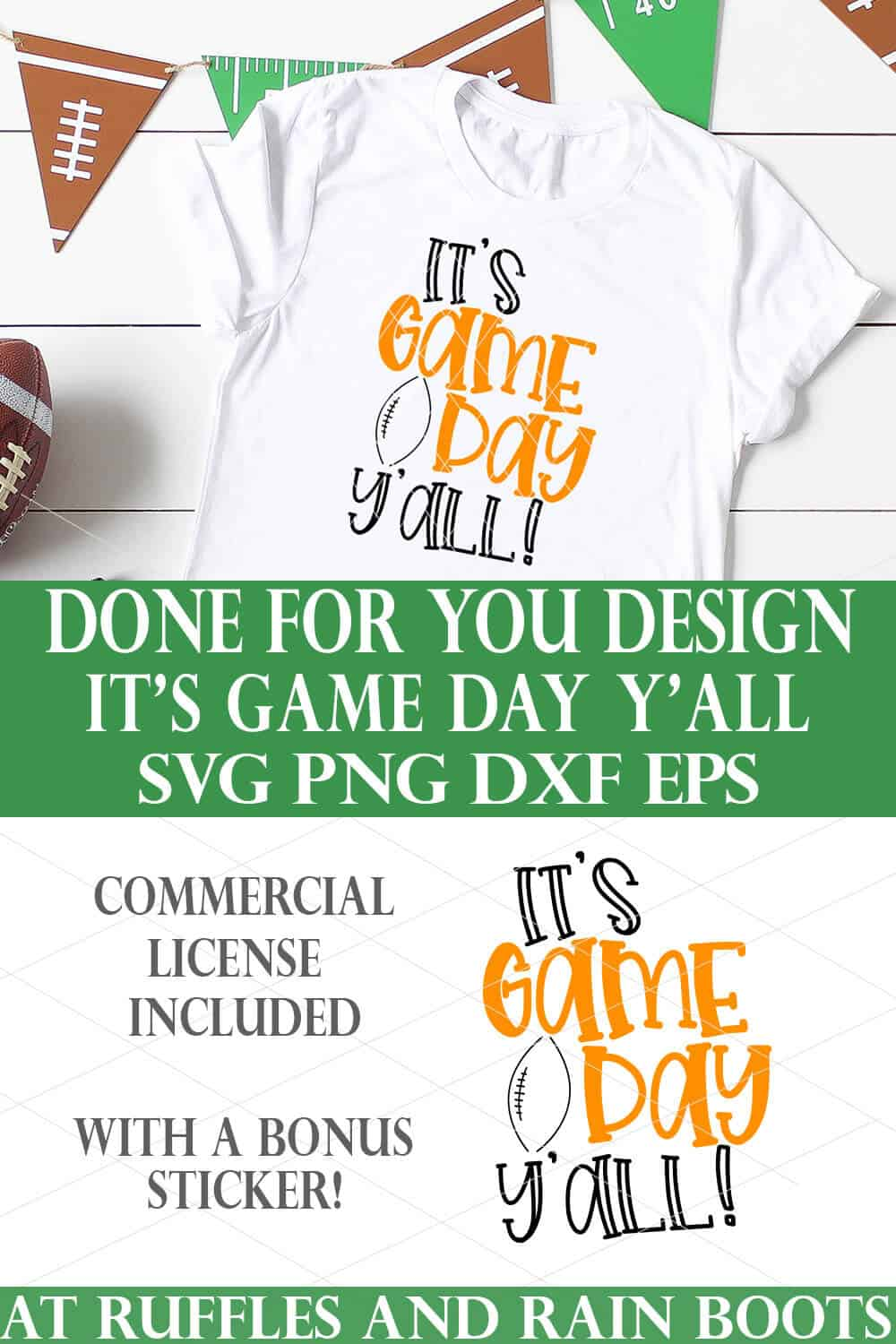 vertical collage of its game day yall football svg for cricut maker explore and joy machines