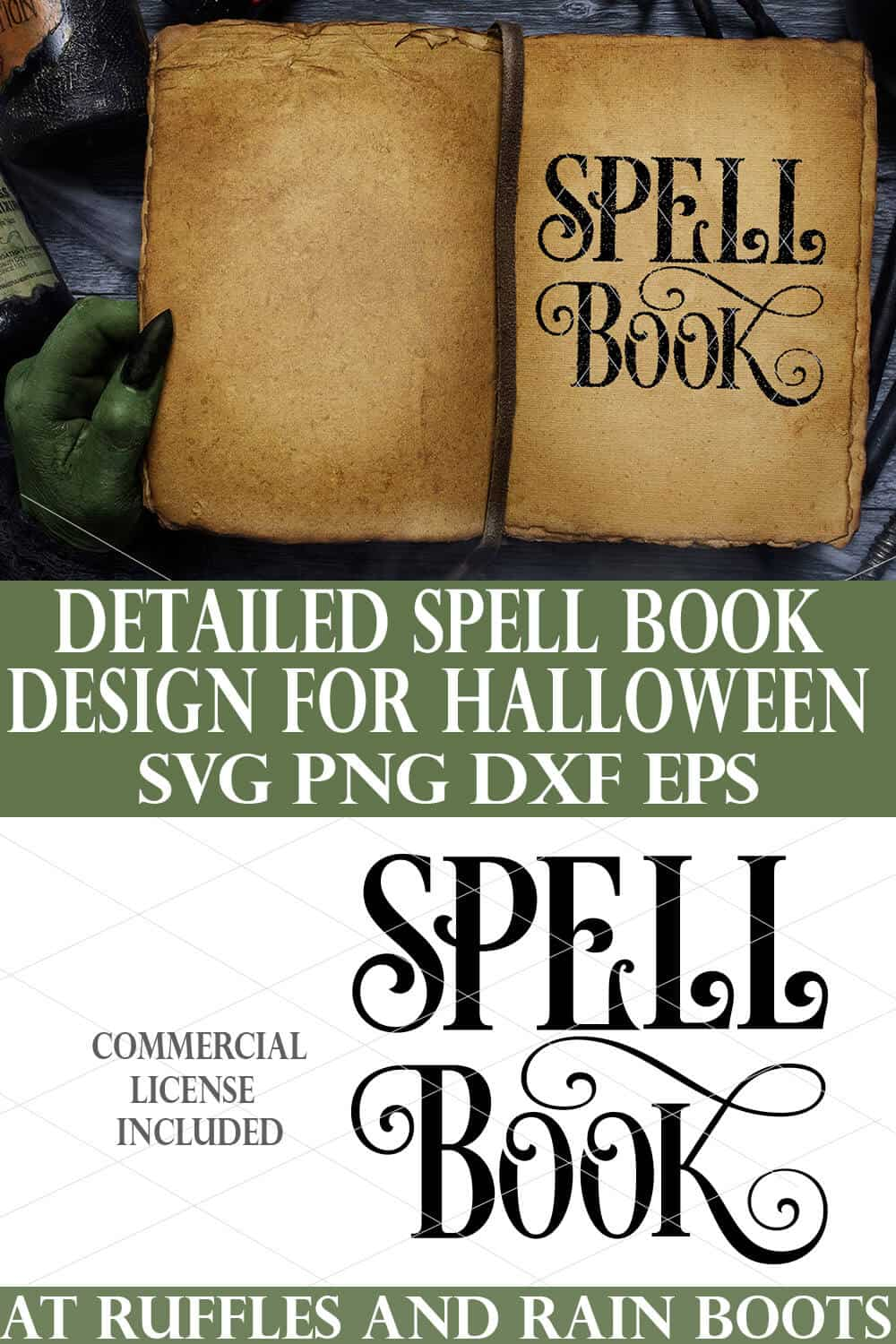 collage of spell book svg in black on vintage book page on halloween background