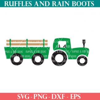 Farmhouse Tractor SVG cut file with trailer