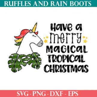 adorable holiday themed Tropical Unicorn Christmas cut file