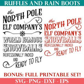 north pole elf company christmas sign svg