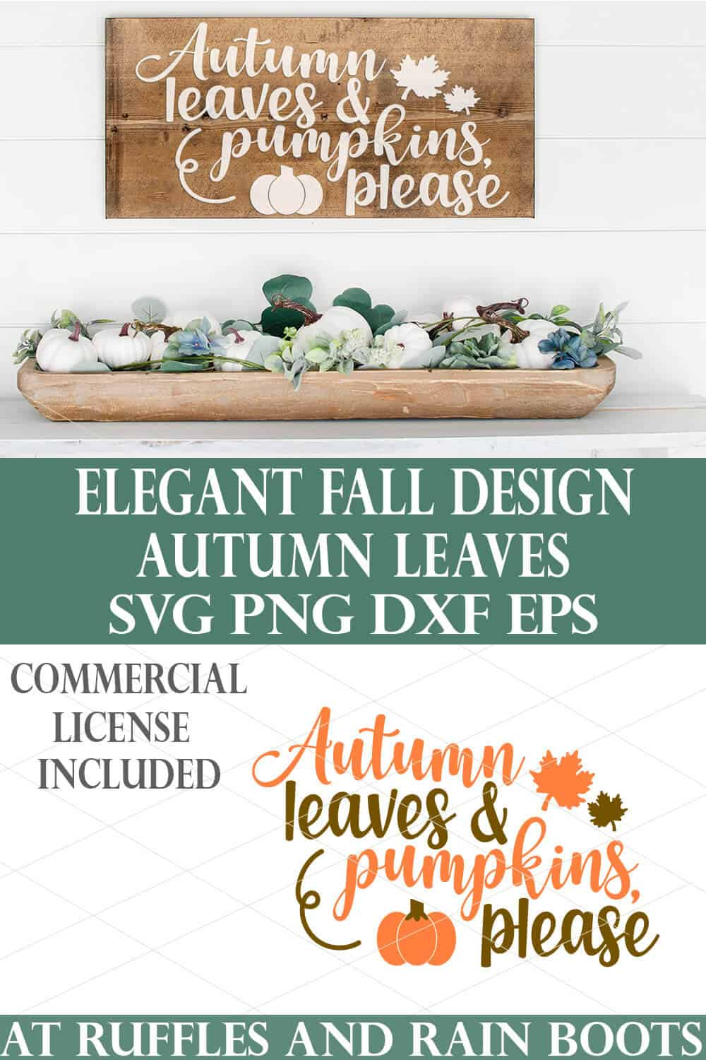 elegant fall svg of autumn leaves and pumpkins please svg placed on wood plank sign on white wood wall