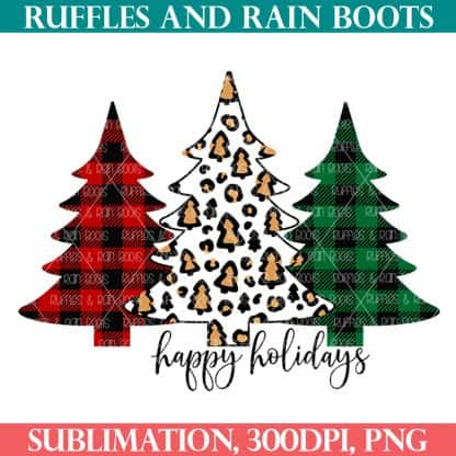 Christmas tree sublimation trio in Buffalo check and leopard print from ruffles and rain boots